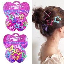 Beaux enfants pentagramme pinces à cheveux paillettes BB Clips Buterfly couleurs 12 pièces/ensemble enfants asymptotique couleur bonbon couleur étoiles filles