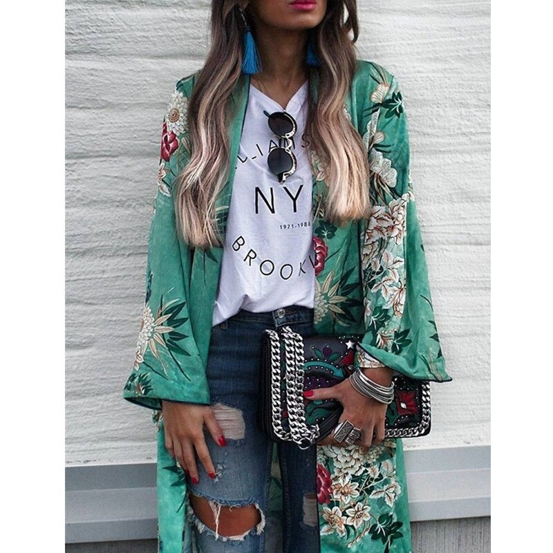 2019 verano verde Floral Kimono blusa Camisetas largas Duster chal largo abrigo Boho gitano suelto mujer Maxi Casual con cremallera