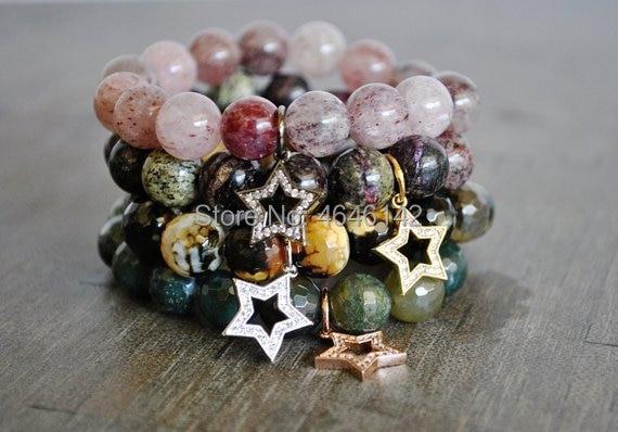 Boho Natural Stone Bracelet Agates Beads Stretch Bracelet Zircon Star Charm Pendant Bracelet Healing
