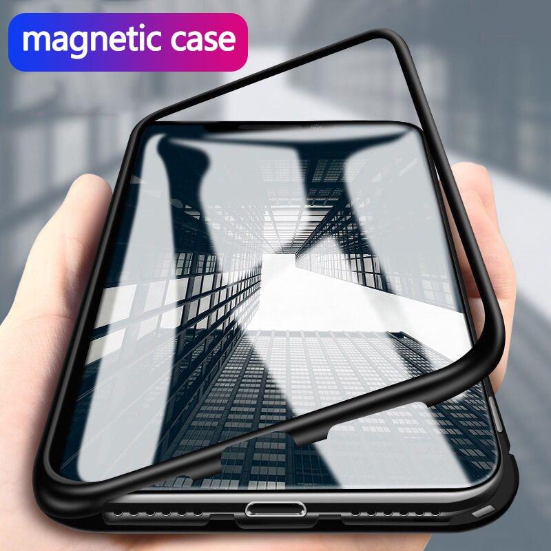 Funda de teléfono con tapa magnética para Huawei P30 Pro P20 Lite cubierta protectora completa de tapa abatible de Metal con tapa trasera de cristal P 30 20 Pro