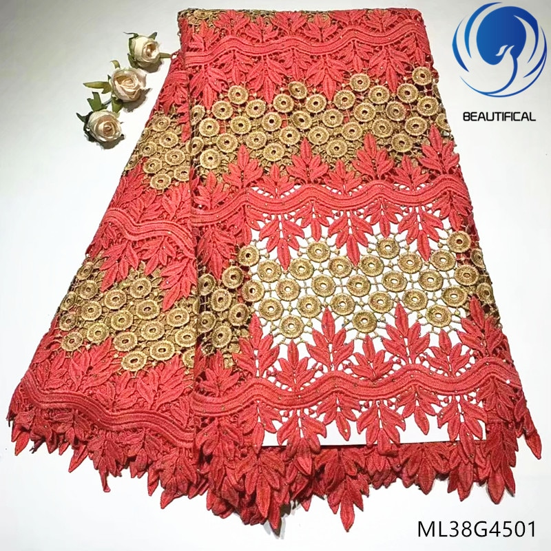 Hermoso encaje nigeriano telas de guipur tela de encaje 5 yardas tela de encaje africano con piedras compras en línea para vestidos ML38G45