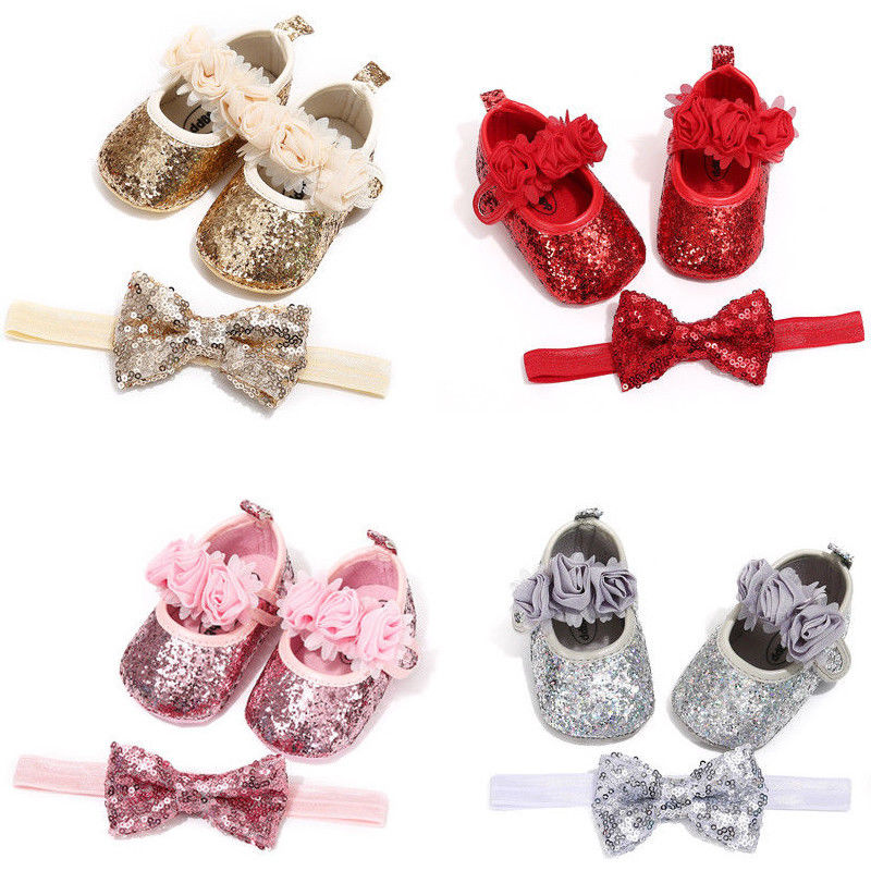 Bowknot Sequins Baby Girls Shoes Infant Newborn Princess Shoes First Walkers + Hairband Baby Girl Bi