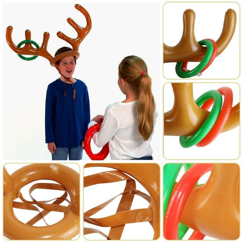 PVC Aufblasbare Geweih Stirnband Spielzeug Tier Kopf Ring Werfen Kreis Spielzeug Werkzeuge für Outdoor Lustige Spielen Geschenke Decor Zubehör
