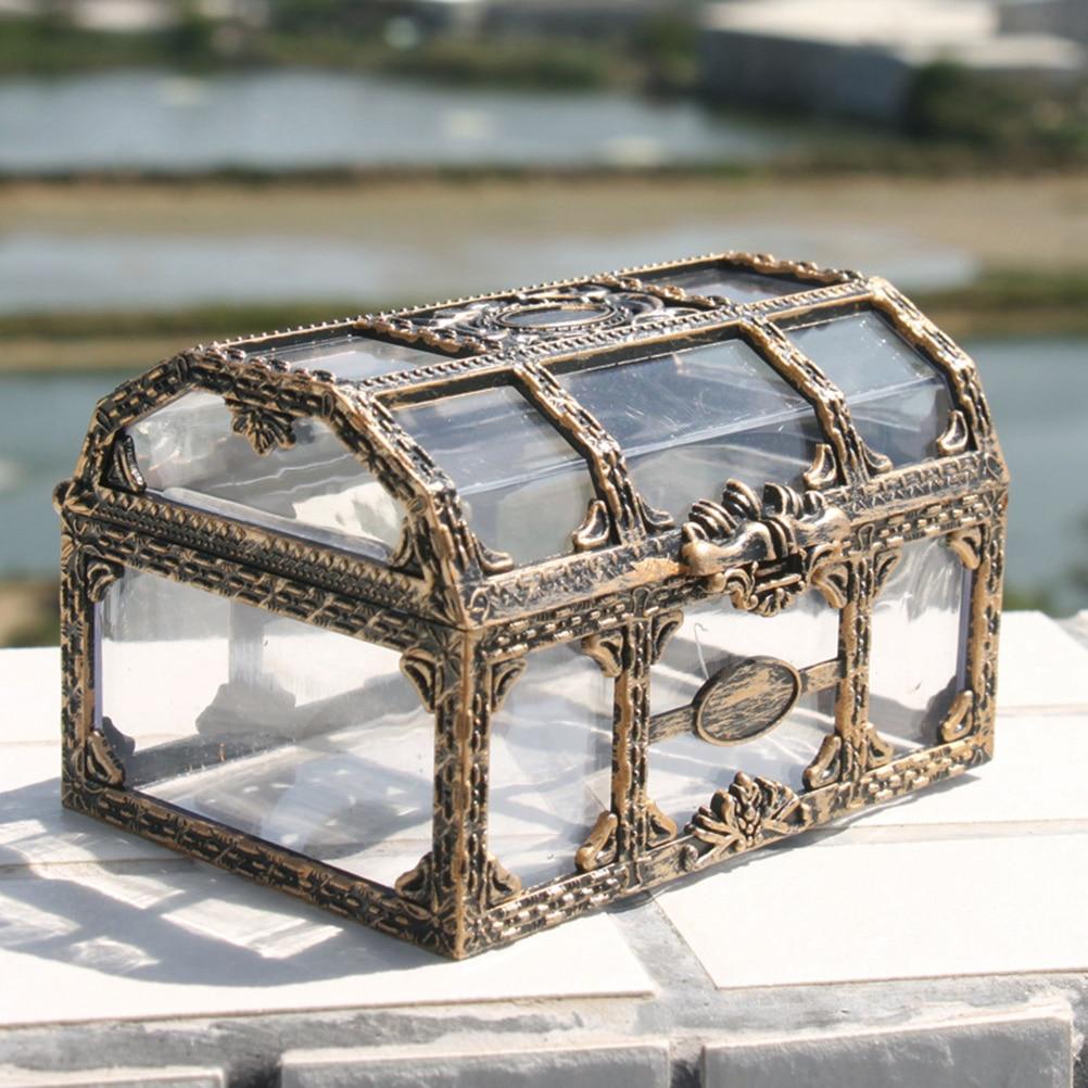 Plastic Transparent Pirate Treasure Box Crystal Gem Jewelry Box Storage Organizer Chest Box Treasure For Jewelry Gem Trinket Box