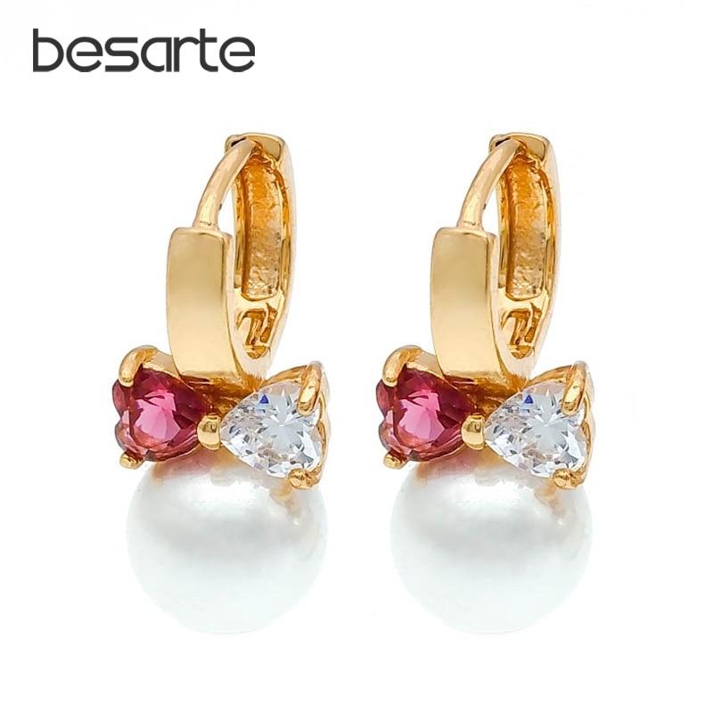 Pendientes de perlas de corazón de Cristal para mujer, Aretes de aro...