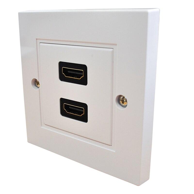 HDMI doble placa frontal doble toma de pared 2 puertos-para CABLES integrados