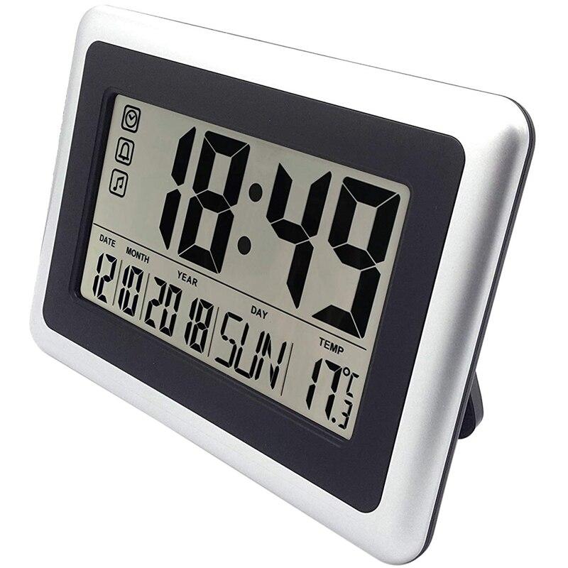 Relógio de parede de digitas da grande tela, relógios silenciosos da prateleira da mesa bateria operado fácil ler o despertador da mesa sem noite l