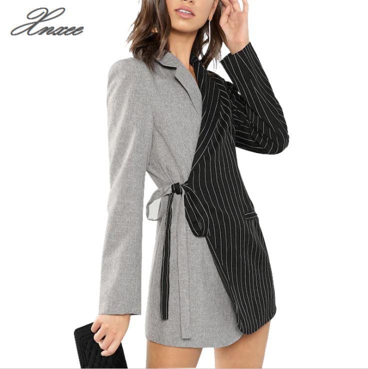 Autumn Women Blazers And Jackets Colorblock Tie Waist Surplice Wrap Womens Blazer Notched Outerwear Ladies Long Coat surplice wrap tie waist stripe dress