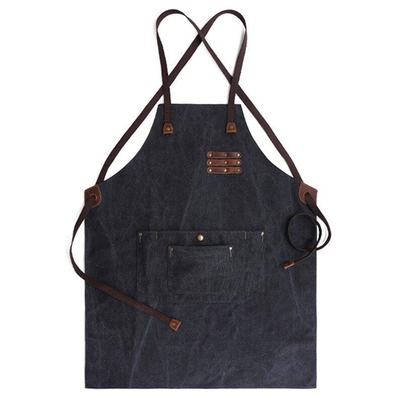 Avental de lona longa cinta algodão barista barista baker churrasco chef uniforme florista carpinteiro jardineiro artista pintor trabalho wear d89