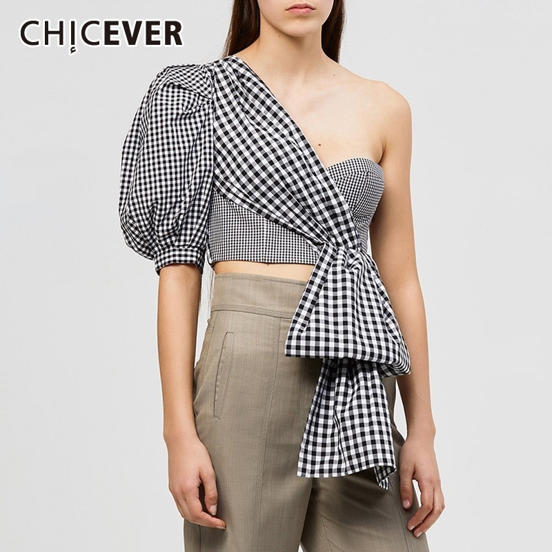 CHICEVER verano Sexy fuera del hombro camisa a cuadros para mujeres Puff media manga Irregular Tops ropa femenina 2019 moda marea nuevo