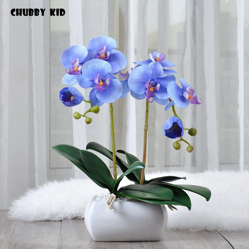 Real touch alta simulación Phalaenopsis flores artes artificial orquídea traje decorativo pequeñas orquídeas bonsai ikebana orquideas