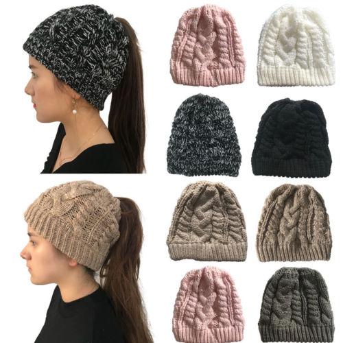 Nova mulher rabo de cavalo estiramento malhas crochê chapéu messy bun gorro holey quente chapéus de inverno