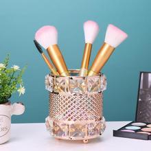 New Europe Metal Makeup Brush Storage Tube Eyebrow Pencil Makeup Organizer Bead Crystal Jewelry Storage Box Dropshiping