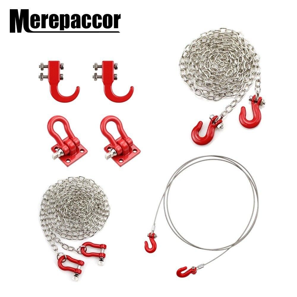 Decoración de cadena de gancho de Metal Rc para coche para 1:10 Rc Rock Crawler Traxxas Trx-4 Axial Scx10 90046 Wraith D90 Tf2 Tamiya Cc01