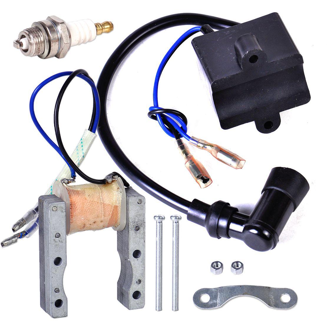 Катушка зажигания + катушка статора Магнето + Sparkplug для 49cc 50cc 60cc 80cc 2-тактный двигатель моторизованный велосипед