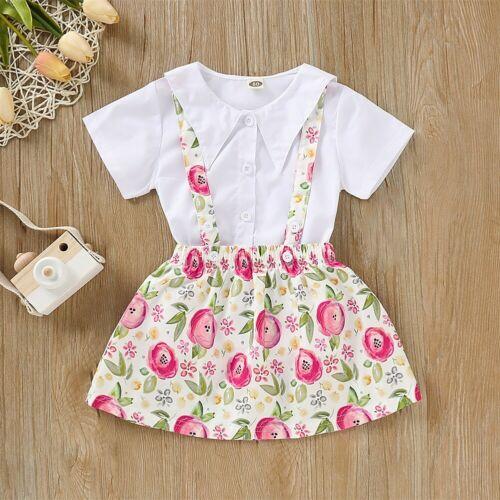 2PCS Kids Baby Girl Summer Casual Clothes Flower Top+Bib Tutu Dress Overall Set