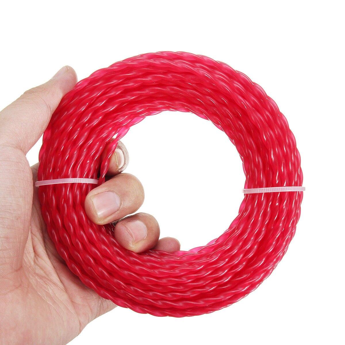 Nylon 15m * 3mm hilo de desbrozadora cuerda de cable de alambre de cadena cortador de césped jardín para más cepillo cortadores de 15m de longitud, diámetro 3mm rojo