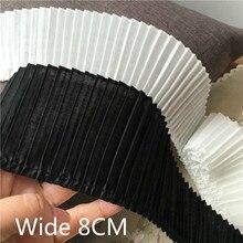 Garniture de rubans brodés en dentelle plissée   Col en coton 3D de 8CM de large, blanc noir, garniture de ruban pour robe à coudre, décoration à franges