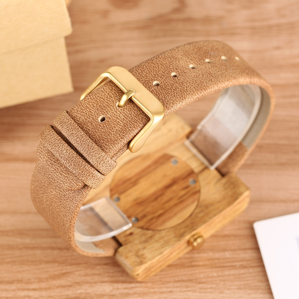 Wooden Watches Simple Design Lightweight Bamboo Wristwatch With Browm Leather Band Square Dial Quartz Movement For Men Women enlarge