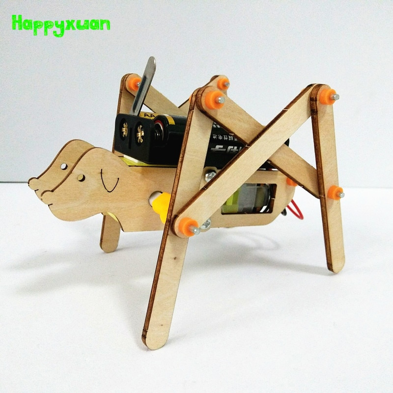 Happyxuan DIY Walking Robot Kits Dog Physics Educational Electric Science Toy Experiments Kid Scient