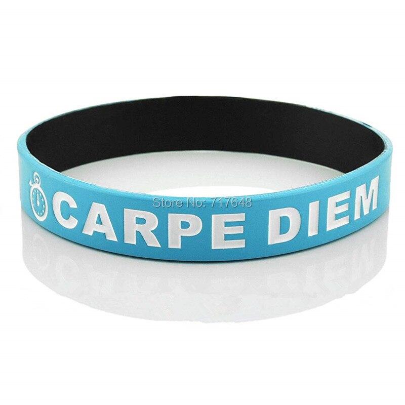 300 шт. вдохновляющая Цитата Carpe Diem браслет силиконовые браслеты Бесплатная