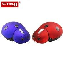 CHYI – souris sans fil design coccinelle, 3000DPI, gzh, ergonomique, universelle, pour ordinateur de bureau et portable, pour enfants