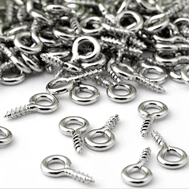 600 piezas de Mini tornillo de joyería de uñas, aguja pequeña de tornillo, gancho de aguja, Tornillo de gancho de hebilla de plata de hilo
