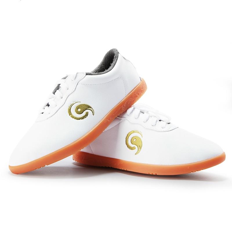 الشتاء جلد البقر تاي تشي رياضية شحن مرنة العرفية الفنون الووشو أحذية التدريب الرياضي الأحذية أسود أبيض حجم 34-46