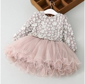 New Lace Flower Princess 2018 Spring Girl Dress Long Sleeve Three-dimensional Petals Pompon Net Girl Clothes