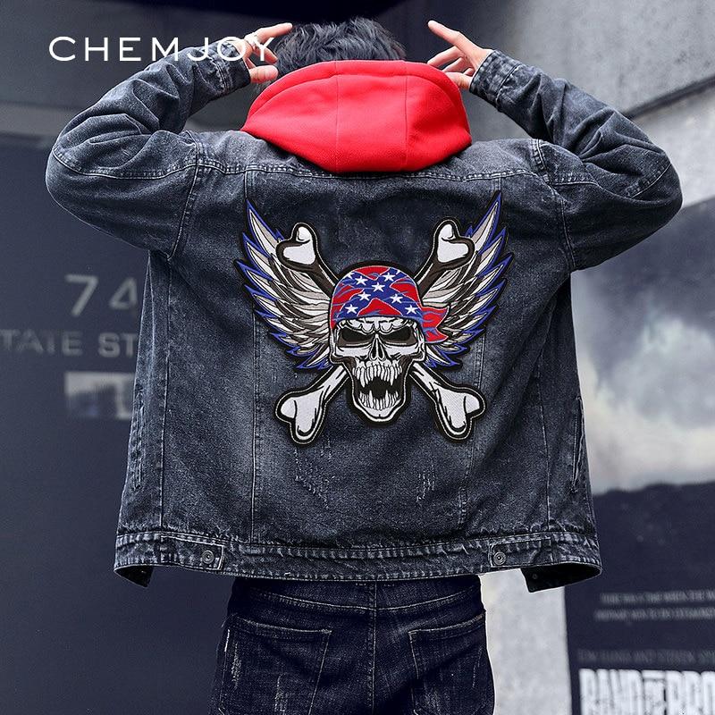 Ferro no crânio do bordado com remendo das asas para a roupa do motociclista adesivos de roupas grandes emblemas mochilas decorativas do revestimento applique