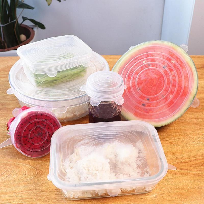 Tapas de silicona elásticas reutilizables resistentes al calor, tapas universales para comida, recipiente, olla, tapas de cocina, nevera
