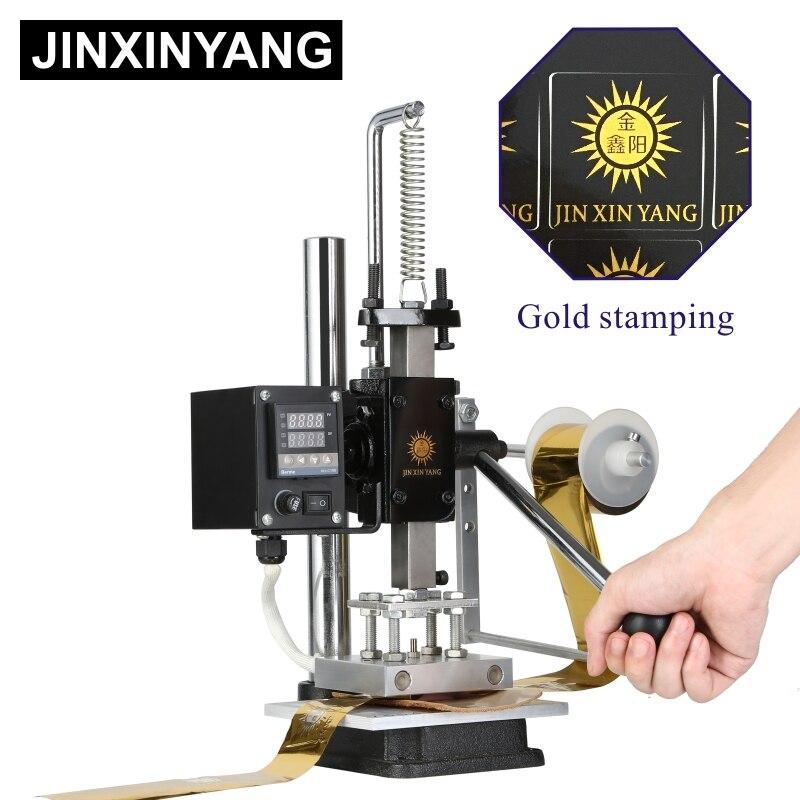 Jinxinyang máquina da imprensa do calor de couro da folha de gravação do ouro que carimba o molde de pressão quente que corta a madeira da marca de perfuração do losango