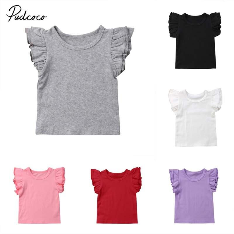 Блузка для новорожденных девочек и мальчиков, Летние повседневные хлопковые топы с рукавами-крылышками, твердые наряды, 7 видов цветов, солнцезащитный костюм, 2019