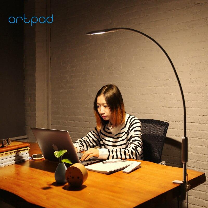 Artpad-مصباح ذو رأس معقوف دوار 360 درجة مع جهاز تحكم عن بعد وذراع طويل لحماية العين وإضاءة باهتة تعمل باللمس للعمل وغرفة النوم والمكتب