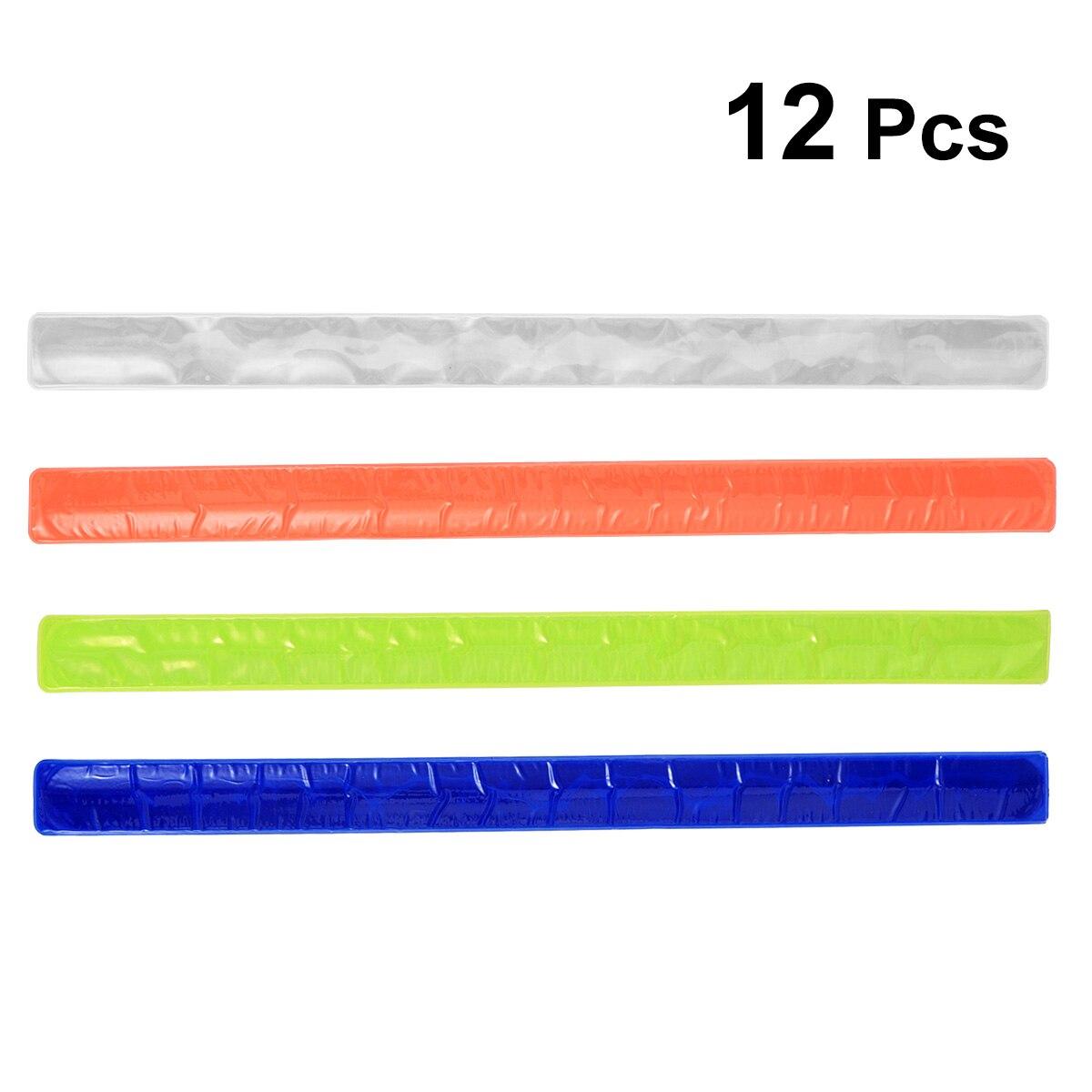 12 piezas reflectante pulsera Durable bofetada PVC de seguridad la noche corriendo brazaletes bandas bofetada pulseras luminosas