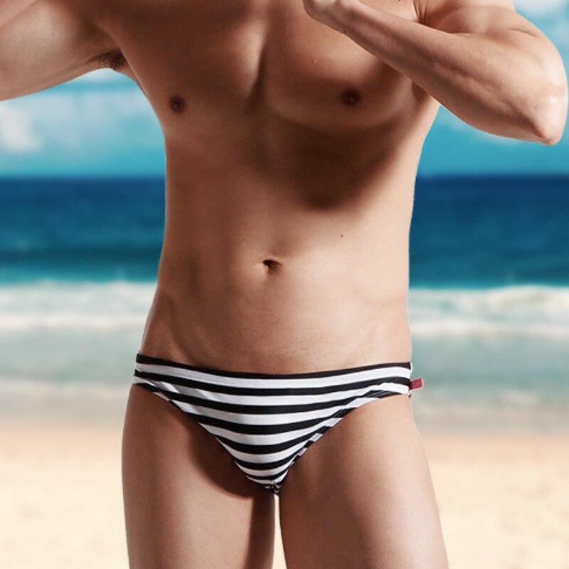 Desmiit Strisce Costume Da Bagno Degli Uomini Nuotare Slip Sexy Gay Mens Bikini Costumi Da Bagno Tronchi di Nuoto Sunga Beach Sport Surf Costume Da Bagno Breve