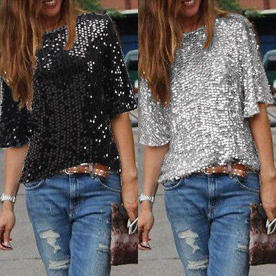Blusa para mujer, Media manga, brillo Parkle, Tops sueltos sólidos, verano, jersey con lentejuelas, Tops, blusa informal, blusa para mujer 2019