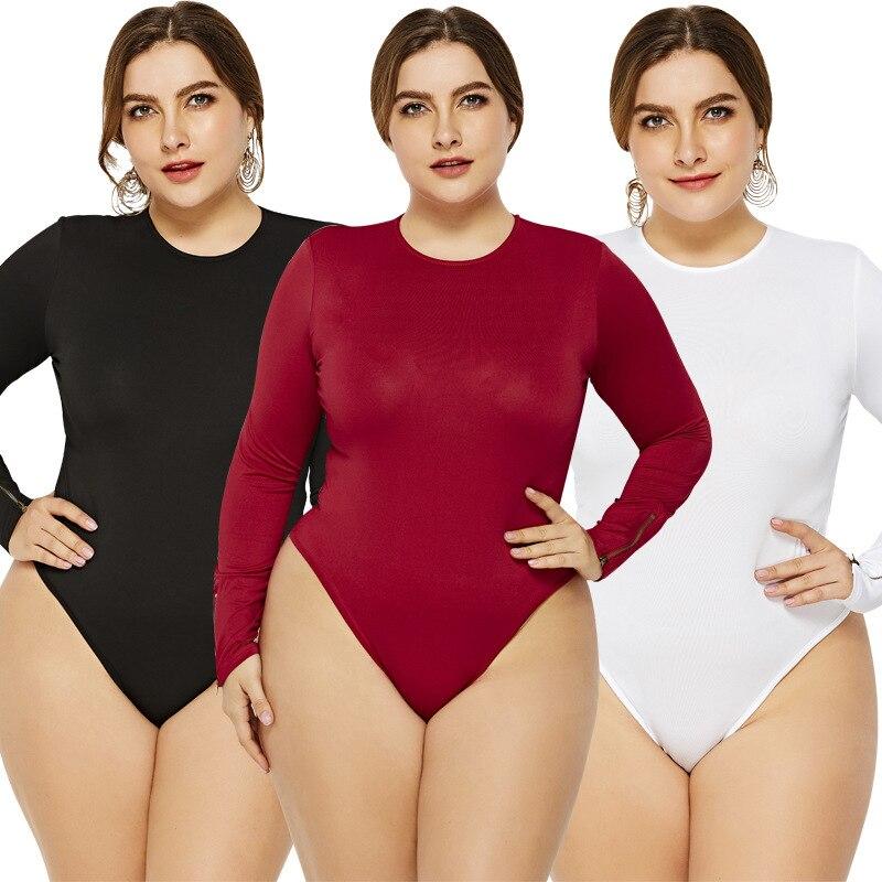 #2115 Spring 2020 White Black Red Bodysuit Women Long Sleeve Plus Size 5XL 6XL Round Neck Body Femme Sexy Bodysuit Thong Ladies