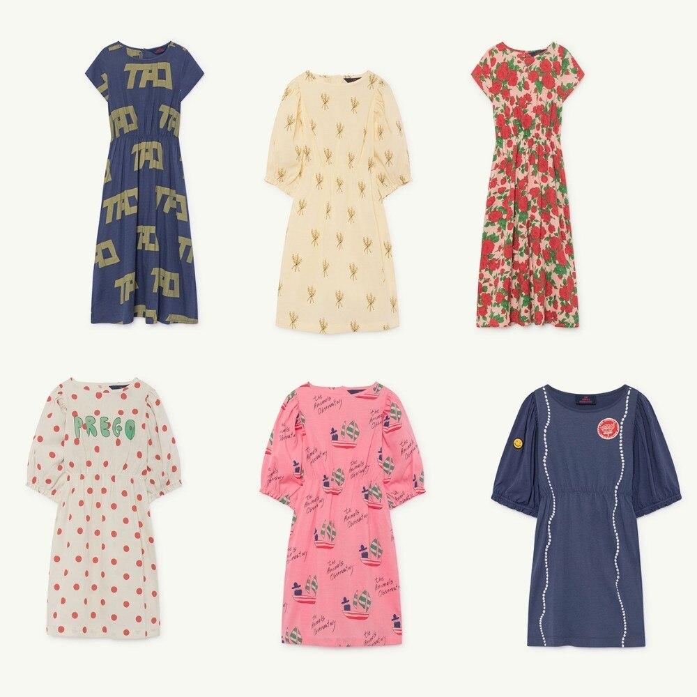 Vestido para niños 2019 TAO Primavera Verano niñas vestidos de princesa de manga corta con estampado de flores bebé niños Nueva ropa de algodón con letras