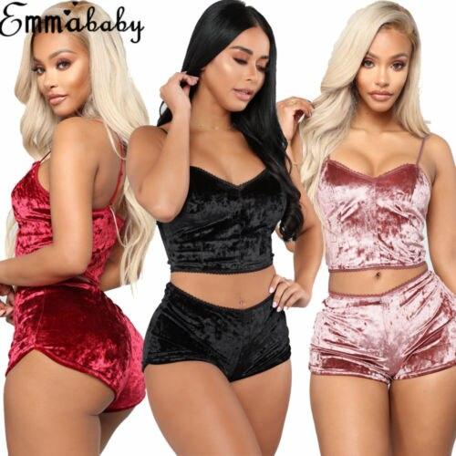 Модные женские бархатные пижамы из 2 предметов, сексуальные бархатные шорты на бретельках, пижамный комплект, Дамская пижама, женские вечерние пижамные комплекты