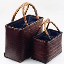 Handmade Woven Bamboo Bag Handbag Box Shape Women Retro Tote Bag Ladies Summer Beach Bags Bolsas Femininas Drop Shipping