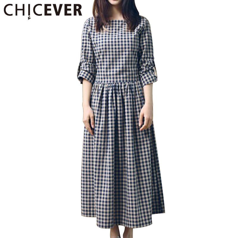 CHICEVER 2020 vestido de verano a cuadros Tops de manga larga con lazo suelto vestidos de gran tamaño ropa femenina de moda coreana
