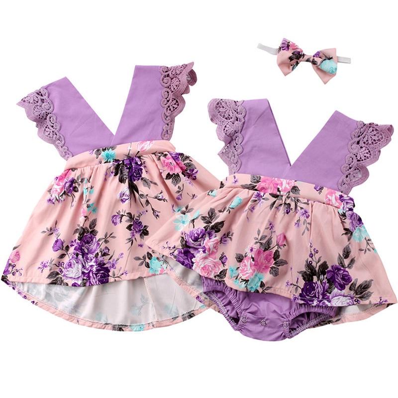 Infant Kid Baby Girls Sister Matching Outfit Floral Lace V-neck Patchwork Bodysuit Jumpsuit Romper G