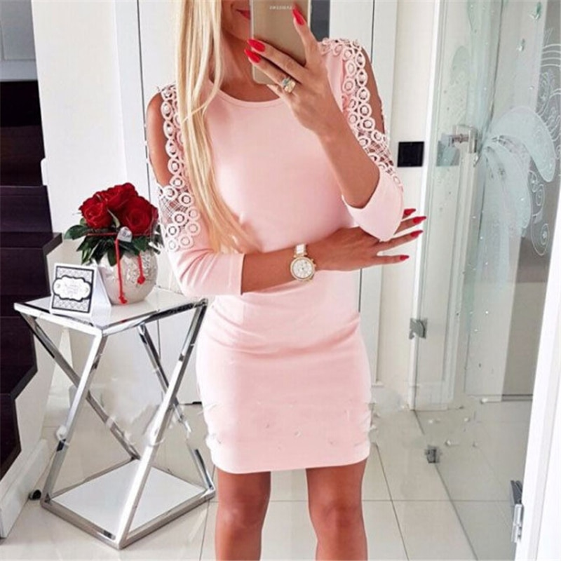 Pearl Dress  Long Sleeve Spring Autumn Winter Women Dresses Casual  O Neck Bodycon Pencil Dresses