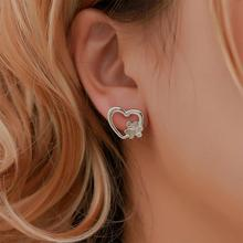 XIUFEN Women Stud Earrings Gold Silver Color Concise Dog Paw Love Shape Earrings Female Jewelry