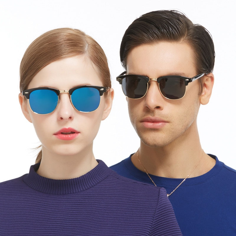 Fashion Semi Rimless Sunglasses Women Metal Frmae Luxury Brand Designer Square Men Sun Glasses Gafas