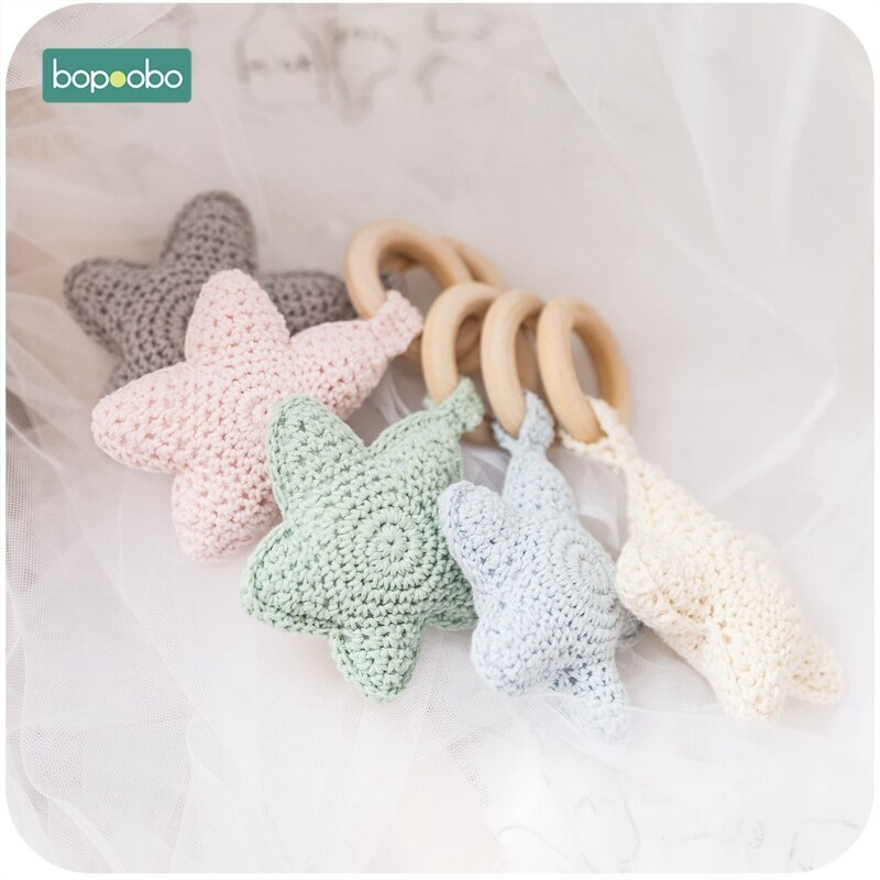 Bopoobo 5pc bebê anel de madeira doce cor estrela mordedores 0-12months dentição do bebê brinquedo pode mastigar grânulos handbell carrinho de bebê presentes
