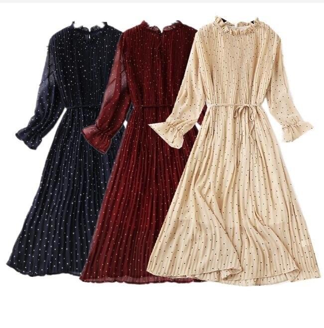 Vestido de chifón de lunares de manga larga de primavera 2019 vestido largo plisado de moda coreana vestido Vintage de primavera con estampado Floral