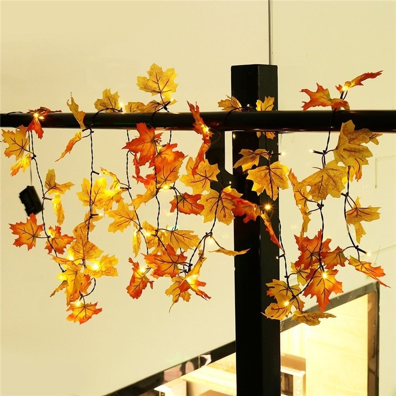 10 Leds Maple Fall Leaves String Fairy Light Lamp Leaf Party Christmas Halloween Home Decor For Living Room Studies Dormitories