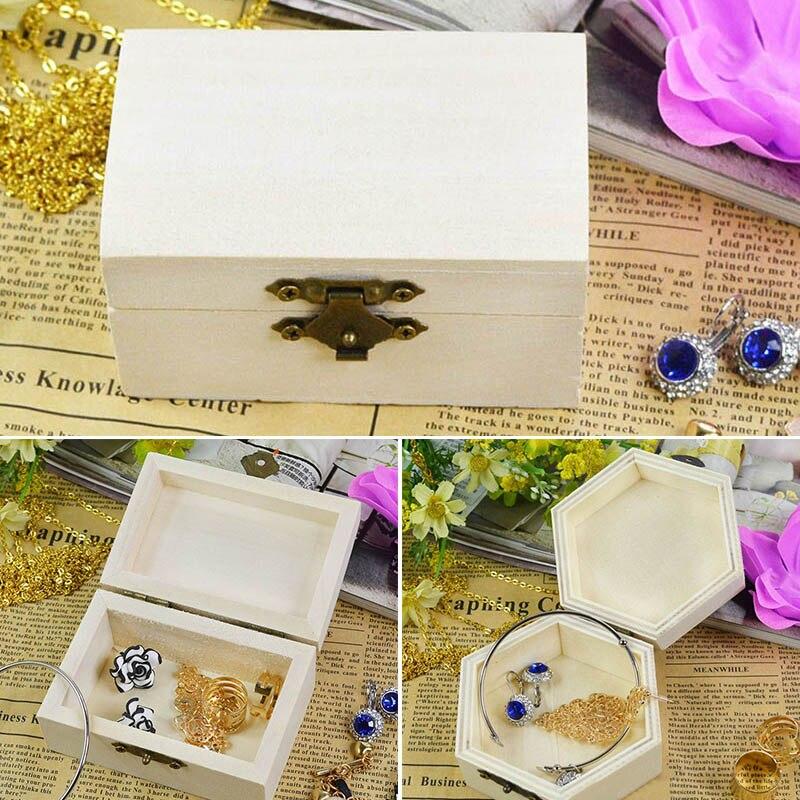 Boîte à bijoux en bois 1 pièce   Organisateur de cartes postales multifonctions, boîtes de rangement artisanales à la main, boîte à bijoux en forme hexagonale/Rectangle Vintage en bois